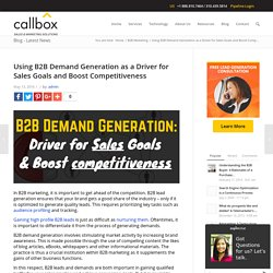 Using B2B Demand Generation as a Driver for Sales Goals