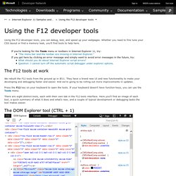 Using the F12 developer tools (Windows)