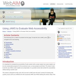 Using JAWS to Evaluate Web Accessibility