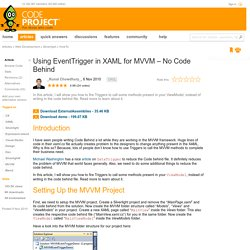Using EventTrigger in XAML for MVVM – No Code Behind