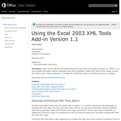 Using the Excel 2003 XML Tools Add-in Version 1.1