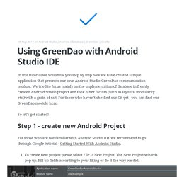 Using GreenDao with Android Studio IDE