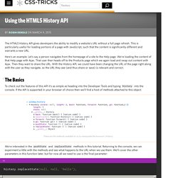 Using the HTML5 History API