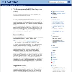 To link or not to link? Using hypertext wisely - Writing for the Web
