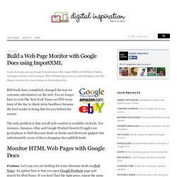 Using ImportXML and XPath in Google Docs to Build a Web Page Monitor