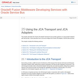 25 Using the JCA Transport and JCA Adapters