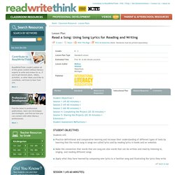 Read a Song: Using Song Lyrics for Reading and Writing