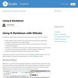 Using R Markdown – RStudio Support