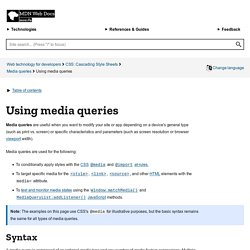 CSS media queries - Web developer guide