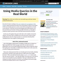Using Media Queries in the Real World