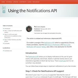 Using the Notifications API