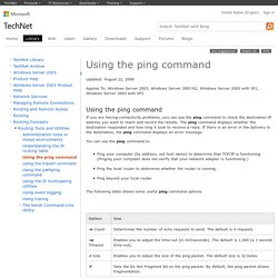 Using the ping command