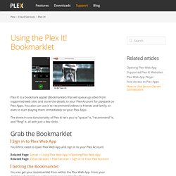 Using the Plex It! Bookmarklet