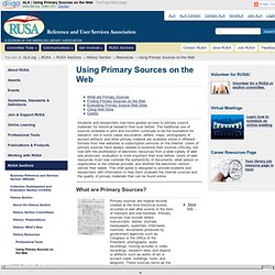 ALA | Using Primary Sources on the Web