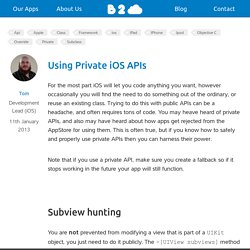 Using Private iOS APIs