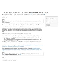 Using the Trend Micro Ransomware File Decryptor Tool