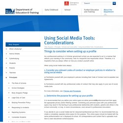 Using Social Media Tools: Considerations