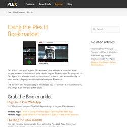 Using the Plex It! Bookmarklet