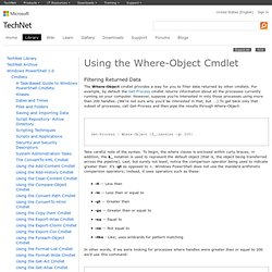 Using the Where-Object Cmdlet