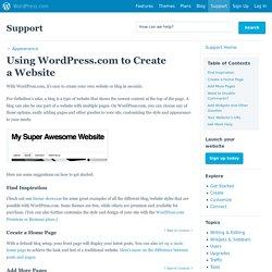 Using WordPress.com to Create aWebsite
