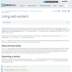 Using web workers - Document Object Model (DOM)