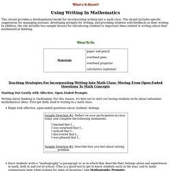 Using Writing In Mathematic