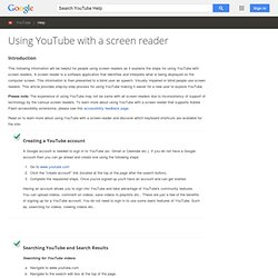 Using YouTube with a screen reader - YouTube Help