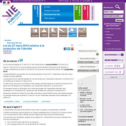 Proposition de loi relative à la protection de l'identité - Panorama des lois - Actualités