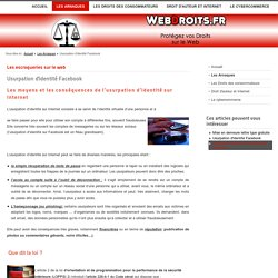Usurpation d'identité Facebook - Webdroits.fr