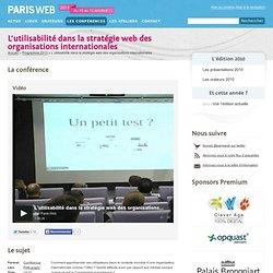 L'utilisabilité dans la stratégie web des organisations internationales