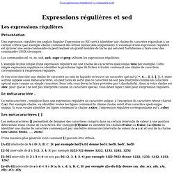 Cours utilisateur UNIX : Expressions régulières et sed