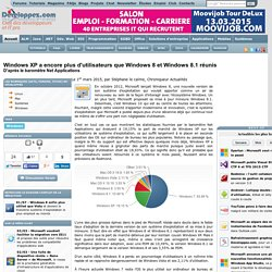 Windows XP a encore plus d'utilisateurs que Windows 8 et Windows 8.1 réunis, d'après le baromètre Net Applications