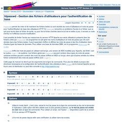 htpasswd - Gestion des fichiers d'utilisateurs pour l'authentification de base - Serveur Apache HTTP Version 2.4