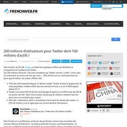 200 millions d'utilisateurs pour Twitter dont 100 millions d'actifs !