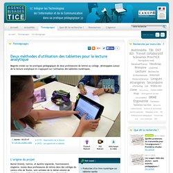 L'Agence nationale des Usages des TICE - Deux méthodes d'utilisation des tablettes pour la lecture analytique