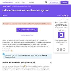 OPENCLASSROOM Utilisation avancée des listes en Python