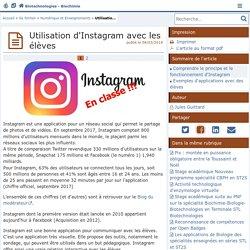 Utilisation d'Instagram avec les élèves - Biotechnologies - Biochimie Génie Biologique - STMS