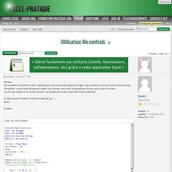 Utilisation Me.controls : Excel - VBA