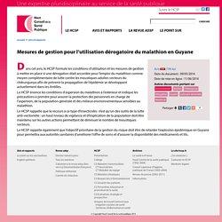 HAUT CONSEIL DE LA SANTE PUBLIQUE 09/05/14 Mesures de gestion pour l'utilisation dérogatoire du malathion en Guyane