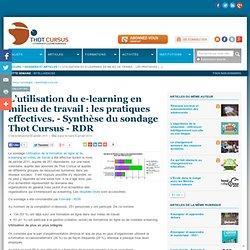 L'utilisation du e-learning en milieu de travail : les pratiques effectives. - Synthèse du sondage Thot Cursus - RDR : Articles : Thot Cursus