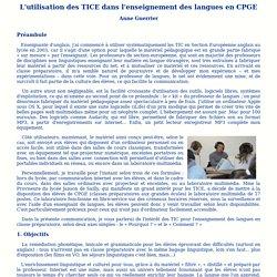 L'utilisation des TICE dans l'enseignement des langues en CPGE