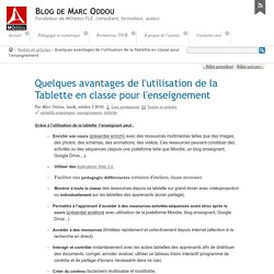 Quelques avantages de l'utilisation de la Tablette en classe pour l'enseignement - Blog de Marc Oddou