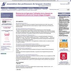 Ressources en ligne pour l'utilisation de la chanson en enseignement précoce du français langue étrangère