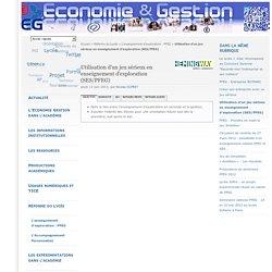 Utilisation d'un jeu sérieux en enseignement d'exploration (SES/PFEG)