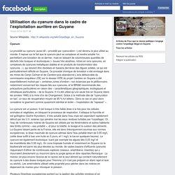 Utilisation du cyanure dans le cadre de l'exploitation aurifère en Guyane