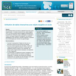 L'Agence nationale des Usages des TICE - Utilisation de tables interactives avec objets tangibles en école