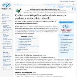 L'utilisation de Wikipédia dans le cadre d'un cours de psychologie sociale et interculturelle