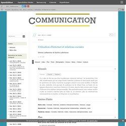 Utilisation d'Internet et relations sociales (LIEN)