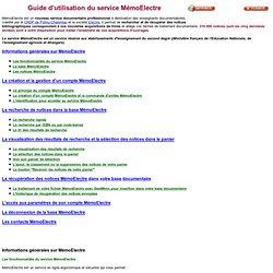 Guide d'utilisation de MémoElectre - Cyberlibrairie Canopé Poitiers