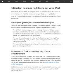 Utilisation du mode multitâche sur votre iPad